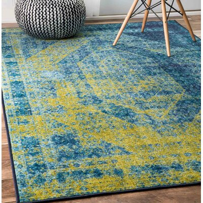 Belvidere Blue/Yellow Area Rug Rug Size: 8 x 10