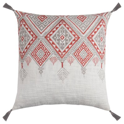 Eleta Cotton Throw Pillow Color: Ivory/Orange