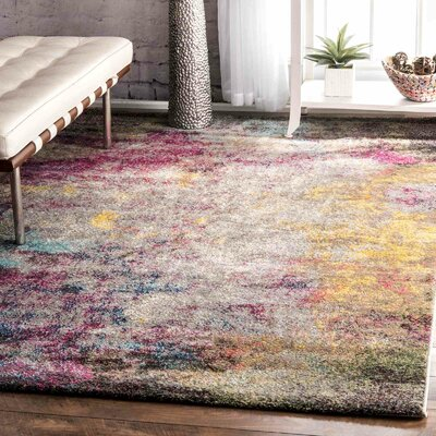 Szeto Gray/Pink Area Rug Rug Size: Rectangle 9 x 12