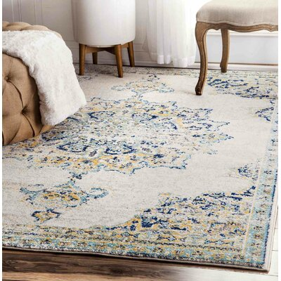 Darchelle Blue/Beige Area Rug Rug Size: Rectangle 9 x 12