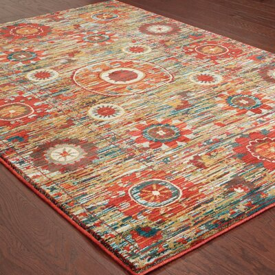 Aydan Tribal Red/Green Area Rug Rug Size: 53 x 76