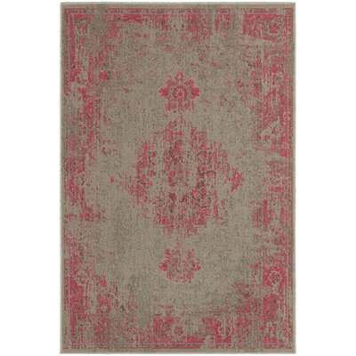 Raiden Gray/Pink Area Rug Rug Size: Rectangle 110 x 33