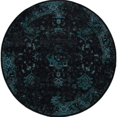 Raiden Navy/Brown Area Rug Rug Size: Round 7'8