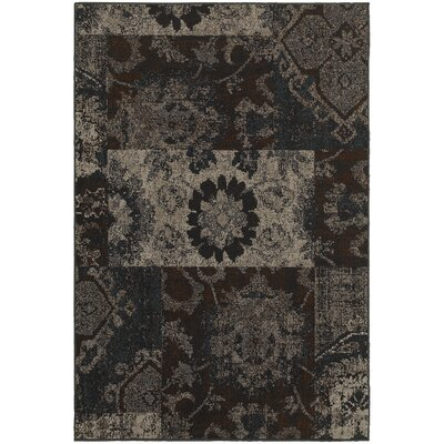 Raiden Charcoal/Brown Area Rug Rug Size: 53 x 76