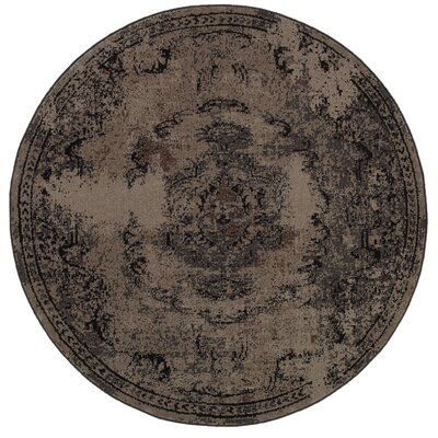 Raiden Persian Brown/Black Area Rug Rug Size: Round 78