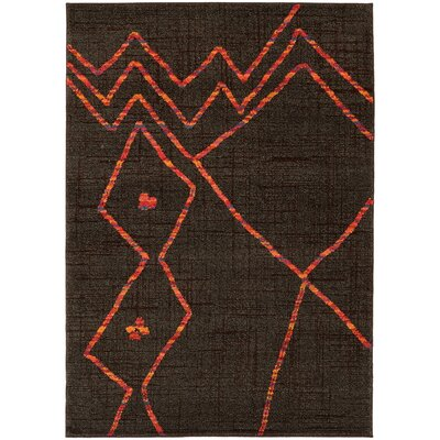 Marquis Brown/Orange Area Rug Rug Size: 53 x 76