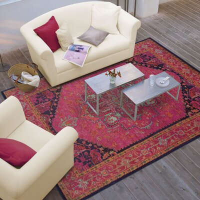 Terrell Updated Traditional Pink/Blue Area Rug Rug Size: 99 x 122
