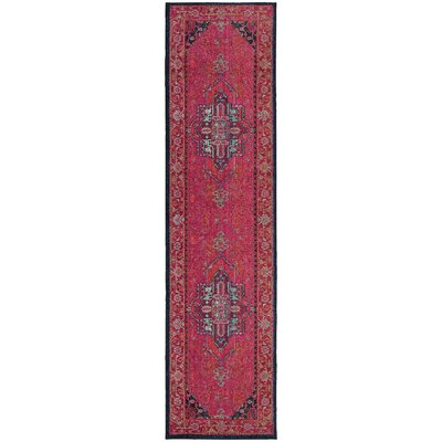 Terrell Updated Traditional Pink Area Rug Rug Size: Runner 27 x 10