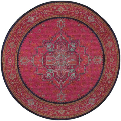 Terrell Updated Traditional Pink/Blue Area Rug Rug Size: Round 710
