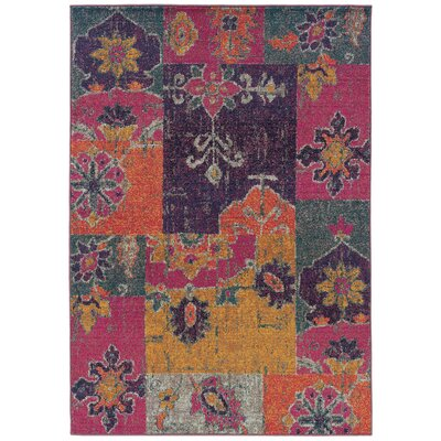 Terrell Floral Ikat Multi/Pink Area Rug Rug Size: Rectangle 99 x 122