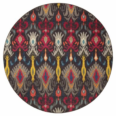 Terrell Tribal Ikat Grey/Multi Area Rug Rug Size: Round 710