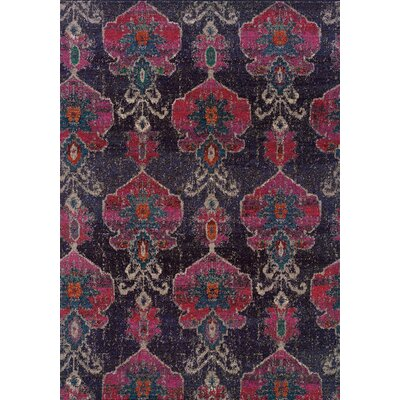 Terrell Floral Ikat Gray/Pink Area Rug Rug Size: Rectangle 67 x 91