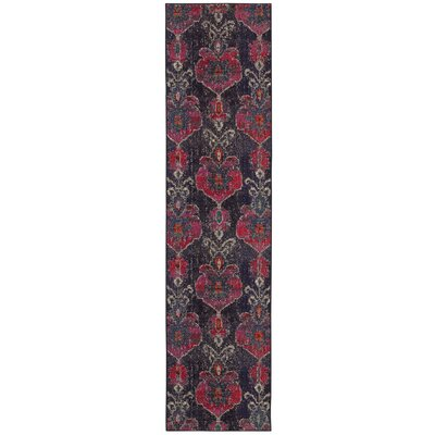 Terrell Floral Ikat Gray/Pink Area Rug Rug Size: 99 x 122