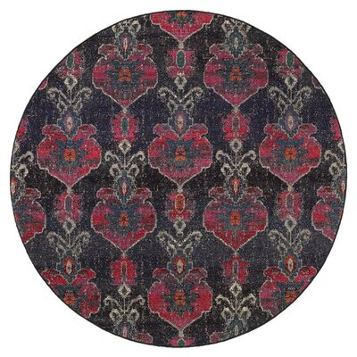 Terrell Floral Ikat Gray/Pink Area Rug Rug Size: Round 7'10