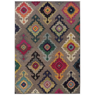 Terrell Tribal Gray Area Rug Rug Size: 99 x 122