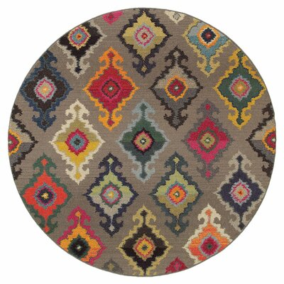 Terrell Tribal Gray Area Rug Rug Size: Round 710