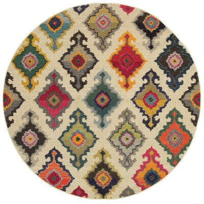 Terrell Tribal Ivory/Multi Area Rug Rug Size: Round 710