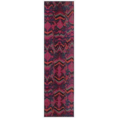 Terrell Tribal Blue/Pink Area Rug Rug Size: Rectangle 67 x 91