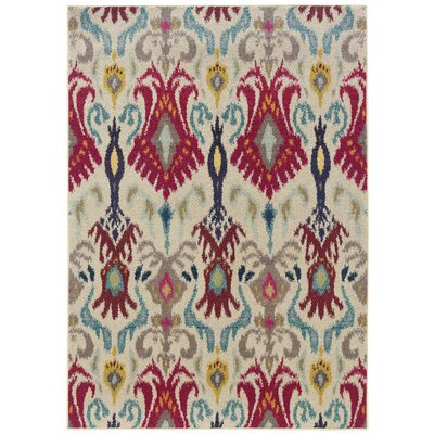 Terrell Ivory & Red Area Rug Rug Size: Rectangle 67 x 91