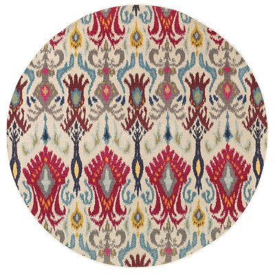 Terrell Ivory & Red Area Rug Rug Size: Round 7'10