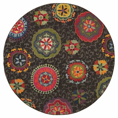 Terrell Grey Area Rug Rug Size: Round 710