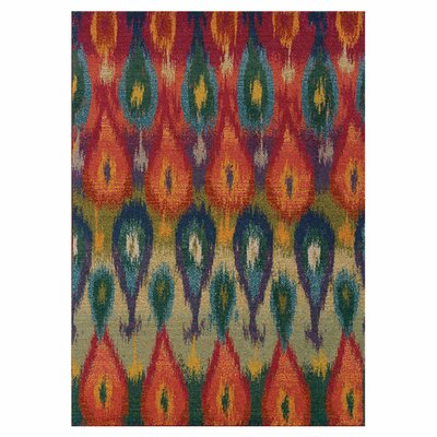 Terrell Red/Green Area Rug Rug Size: Rectangle 76 x 53