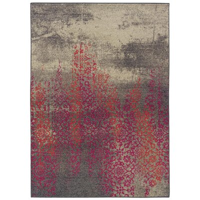 Terrell Gray/Pink Area Rug Rug Size: Rectangle 76 x 53