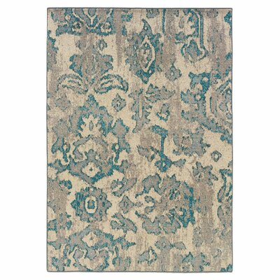 Terrell Floral Blue/Gray Area Rug Rug Size: Rectangle 76 x 53
