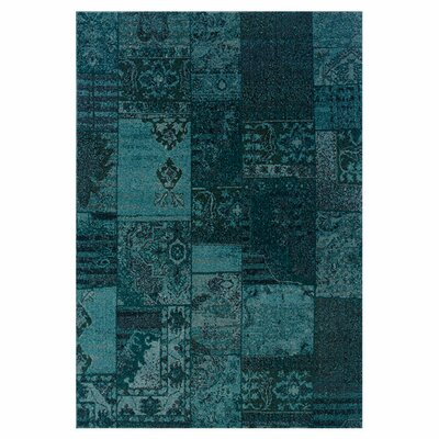 Raiden Teal/Gray Area Rug Rug Size: Rectangle 53 x 76