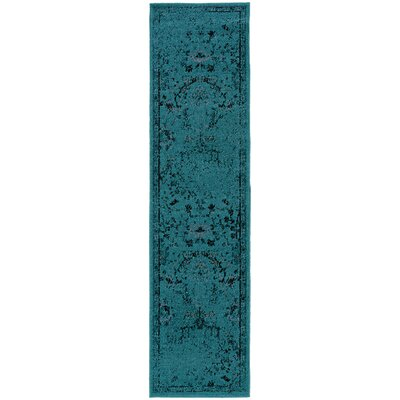 Raiden Teal/Gray Area Rug Rug Size: Runner 1'10