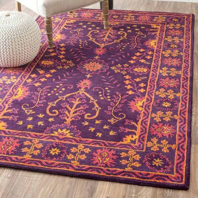 Bungalow Rose Higa Hand-Tufted Purple Area Rug