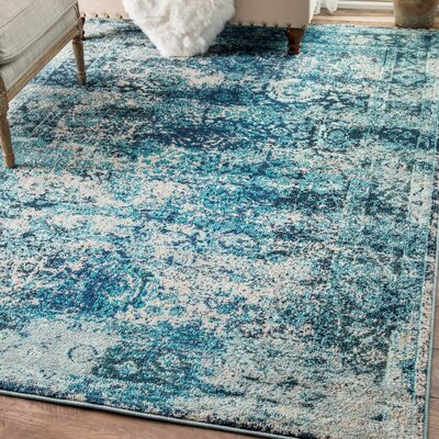 Akshay Vintage Shuler Ocean Blue Area Rug Rug Size: Rectangle 9 x 12