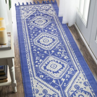Quartier Hand-Woven Blue Area Rug Rug Size: Runner 26 x 8