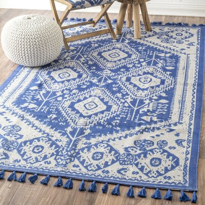 Quartier Hand-Woven Blue Area Rug Rug Size: Runner 2'6