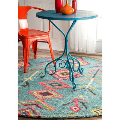 Darvell Hand-Tufted Turquoise Area Rug Rug Size: Round 6