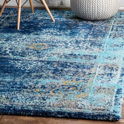 Taghzour Faded Blue Area Rug Rug Size: 53 x 76