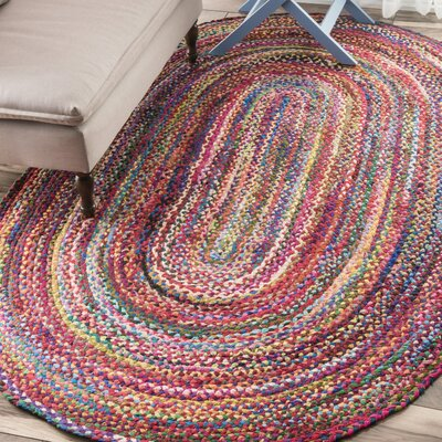 Khan Hand-Braided Multi Area Rug Rug Size: Oval 5 x 8