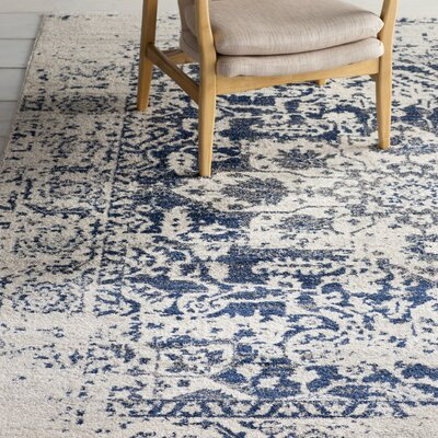 Loretta Beige/Navy Blue Area Rug Rug Size: 5 X 5 Square