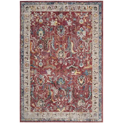Fitz Rose/Light Gray Area Rug Rug Size: 51 x 76