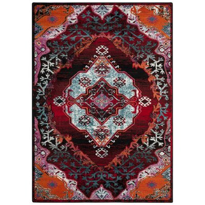 Adana Light Blue/Red Area Rug Rug Size: 51 x 76