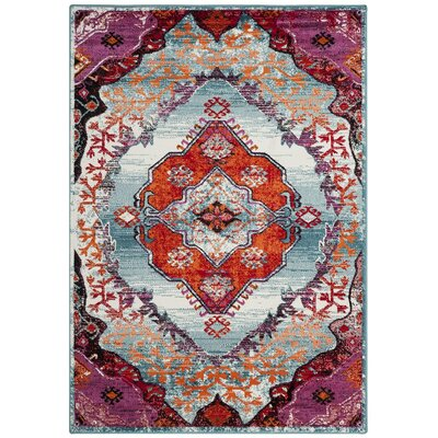 Adana Light Blue/Fuchsia Area Rug Rug Size: Rectangle 8 x 10