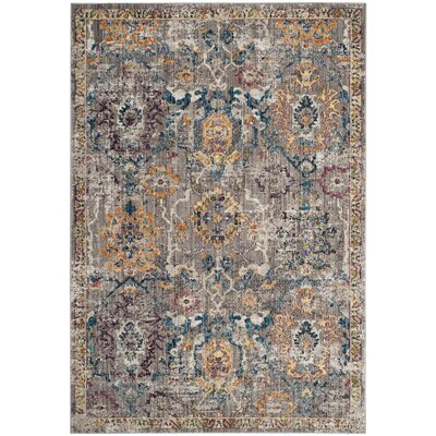 Hailey Gray/Blue Area Rug Rug Size: 51 x 76