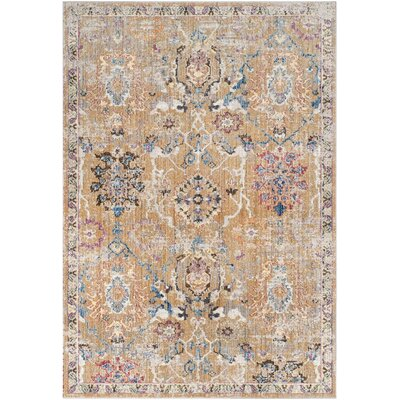 Hailey Camel/Blue Area Rug Rug Size: 51 x 76