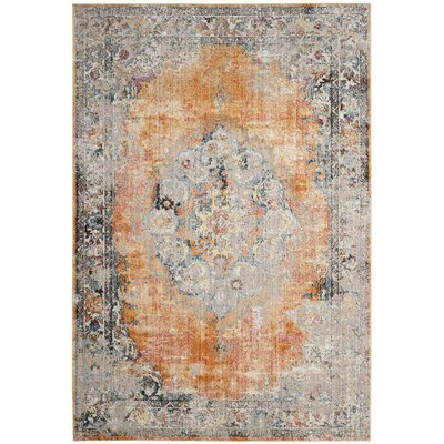 Fitzhugh Orange/Light Gray Area Rug Rug Size: Square 7