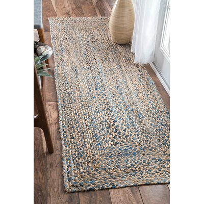 Destrie Hand-Braided Blue Area Rug Rug Size: Runner 26 x 8