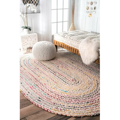 Giovani Hand-Braided Ivory Area Rug Rug Size: Rectangle 7 x 9
