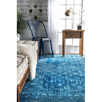 Moses Blue Area Rug Rug Size: Rectangle 9 x 12