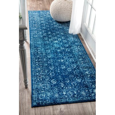 Moses Blue Area Rug Rug Size: Runner 28 x 8