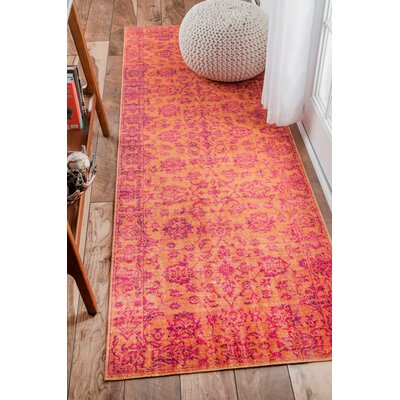Byron Orange Area Rug Rug Size: Runner 28 x 8