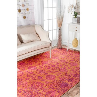 Byron Orange Area Rug Rug Size: 5 x 75